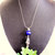 Cobalt Blue Cat's Eye Pendant, Galaxy Pendant, Star Pendant, Tassel Necklace,