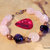 Rose Quartz and Amethyst Bracelet, Chunky Bracelet, Copper Jewelry, Pink and