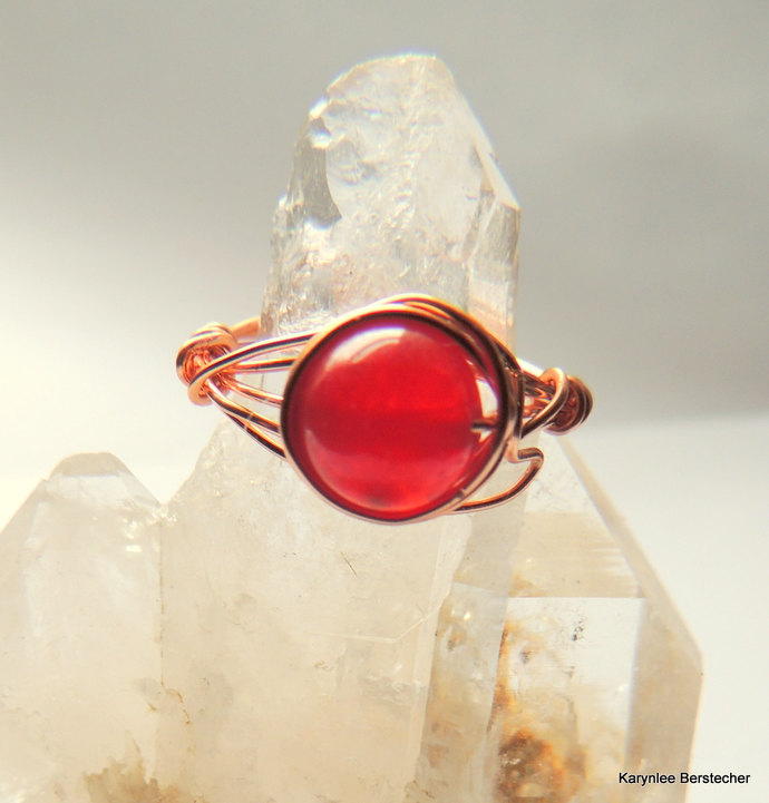 Cherry Quartz and Copper  Wire Wrap Ring, Gemstone Ring, Handcrafted Jewelry,