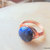 Lapis and Copper Wire Wrapped Ring, Gemstone and Copper Ring, Cobalt Blue and