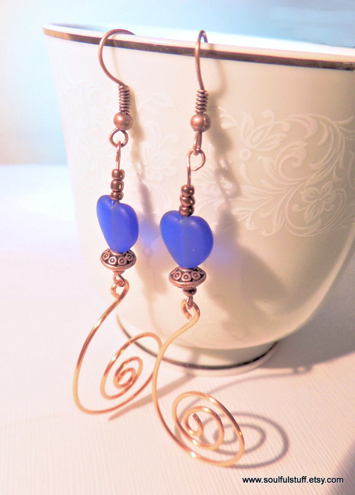 Heart Earrings, Blue and Copper, Copper Earrings, Valentine Jewelry, Handcrafted