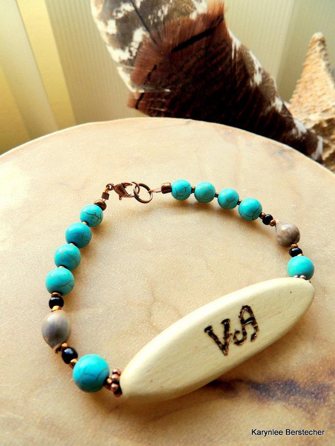Cherokee Language, Turquoise Bracelet, Peace Bracelet, Corn Bead Jewelry, Native