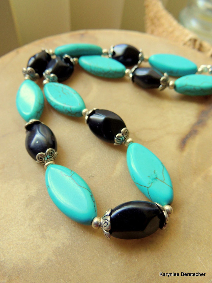 Turquoise Necklace, Turquoise and Black, Native Style Jewelry, Handcrafted