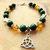 Triquetra Charm Bracelet, Celtic Charm Bracelet, Green and Amber, Gemstone and