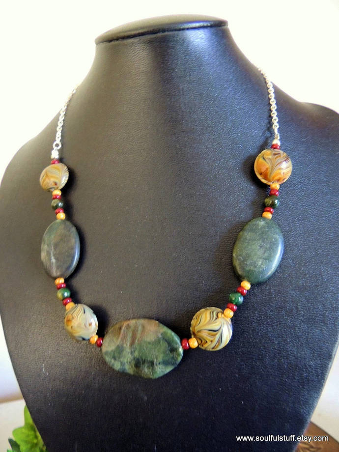 Jasper Necklace, Statement Necklace, Boho Jewelry, Handcrafted Jewelry, Green