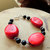 Chunky Red Coral Nuggets and Onyx Bracelet, Gemstone Bracelet, Handcrafted