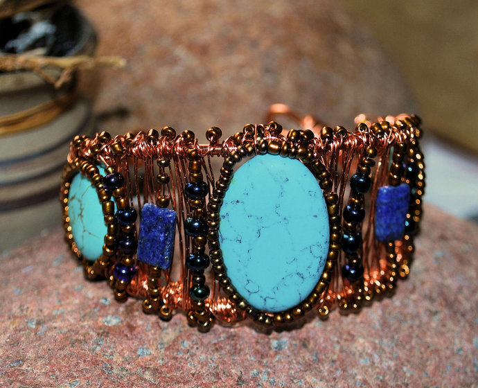 Wire Wrapped Cuff, Turquoise and Lapis, Copper Jewelry, Handcrafted Jewelry,