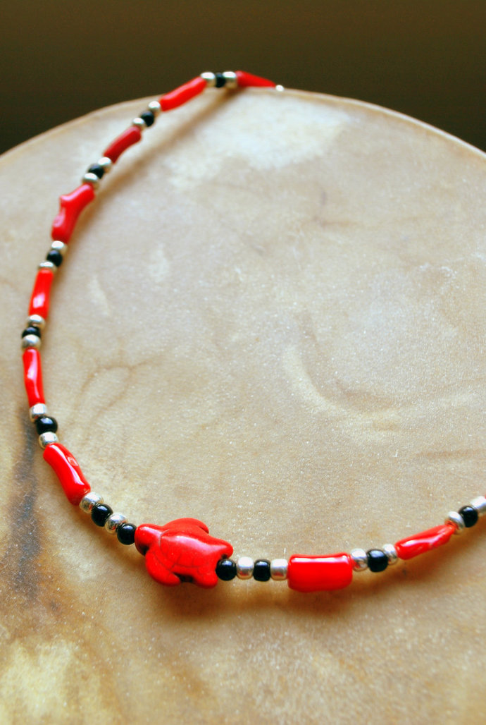 Turtle Necklace, Choker Necklace, Red and Black, Native Style Jewelry,