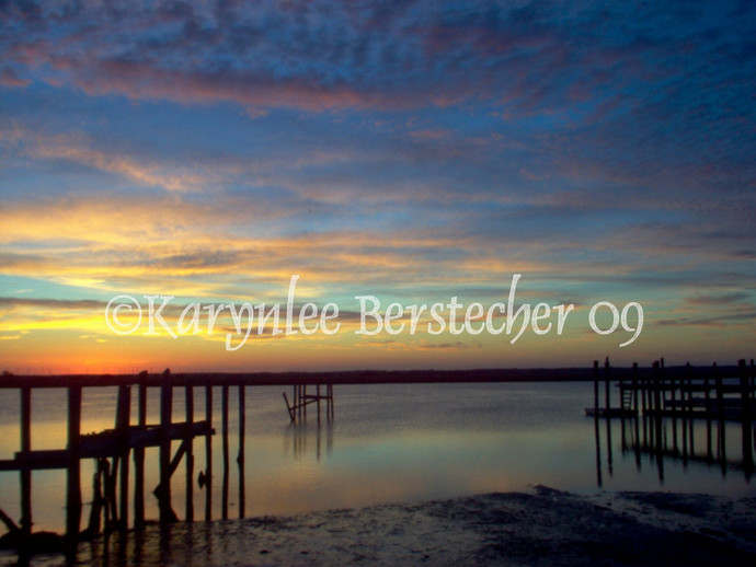 Sunset Dreams---Nature Shore Landscape Pier Fine Art Matted Photography Home
