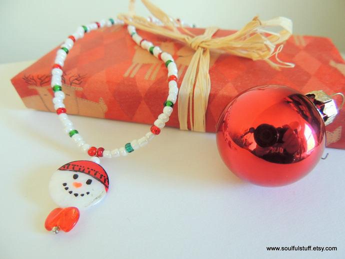 CLEARANCE--Snowman Necklace, Holiday Jewelry, Girls Jewelry, Snowman Jewelry,