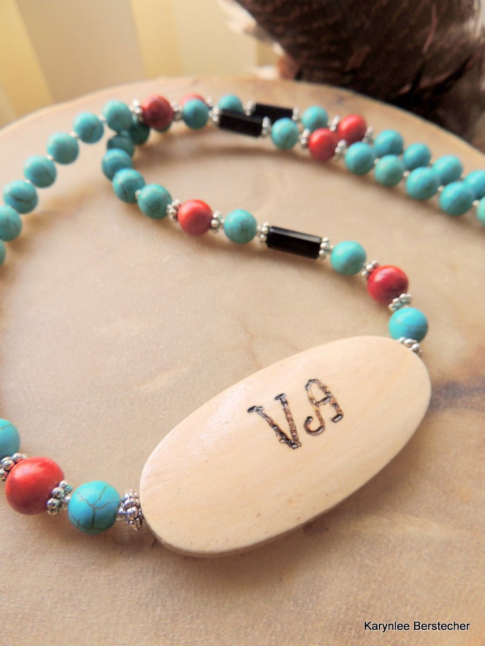 Peace and Love Necklace, Cherokee Language, Turquoise Jewelry, Tsalagi Jewelry,