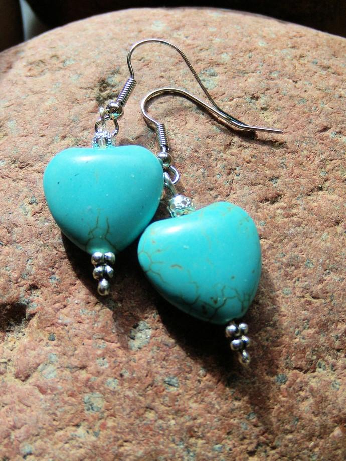 Heart Earrings, Turquoise Jewelry, Gemstone Jewelry, Handcrafted Jewelry, Dangle