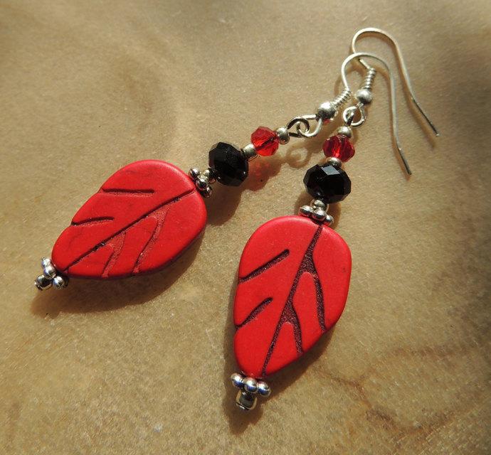 Red Leaf Earrings, Carved Magnesite Earrings, Dangle Earrings, Red and Black,
