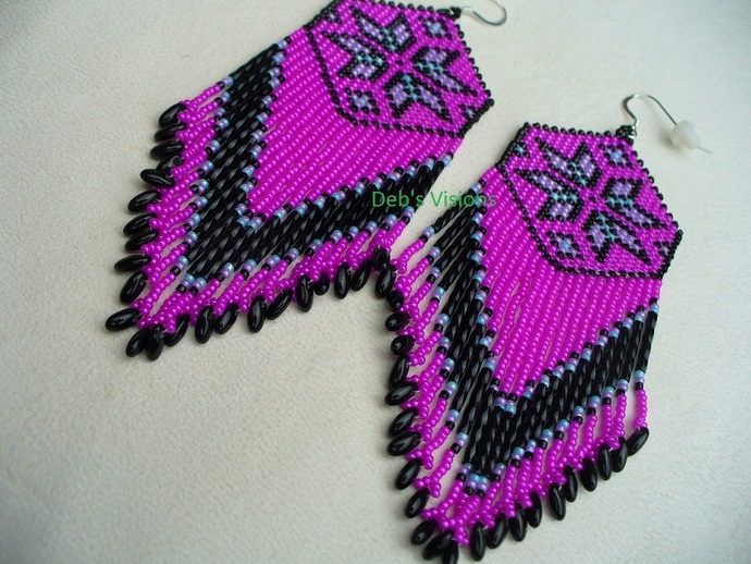 Native American Style Loom/Square Stitched Morning Star Earrings in Hot