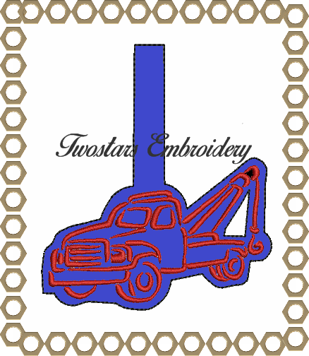 Towtruck key chain, snap tab, key fob Digital embroidery file
