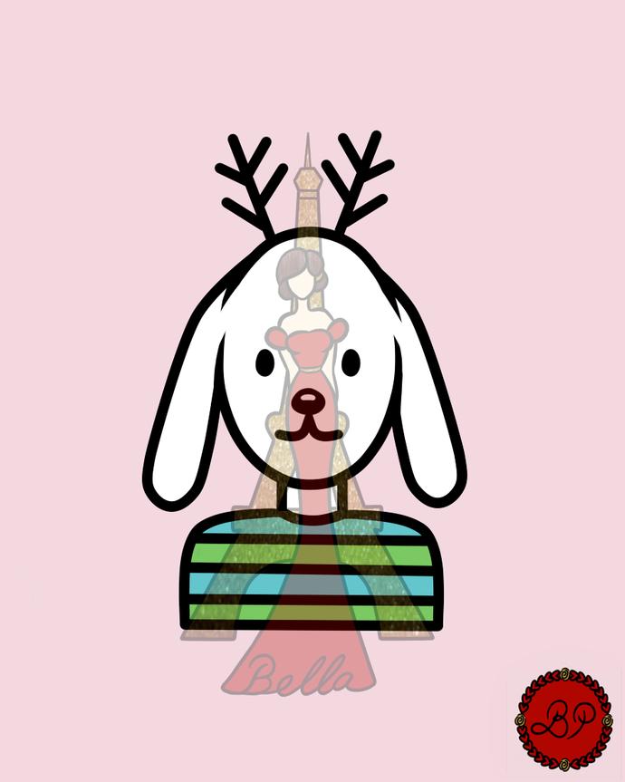 Reindeer Bunny Digital Stamp