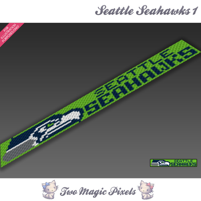 Seattle Seahawks Scarf 1 pattern; graph; pdf download; C2C row-by-row counts