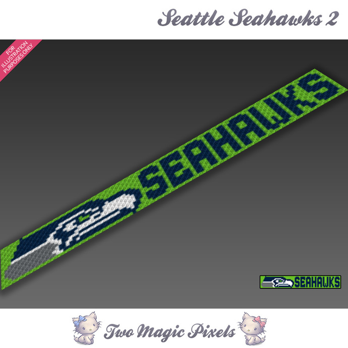Seattle Seahawks Scarf 2 pattern; graph; pdf download; C2C row-by-row counts