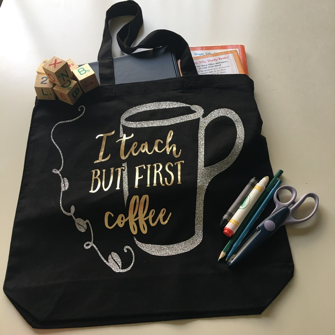 teacher bag  I Teach But first coffee, Custom tote by Pretty Party Favors on Zibbet