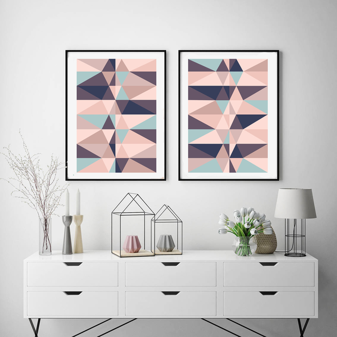 Geometric Print, Printable Wall Art, Pink blue and Mint Decor, Abstract, Modern