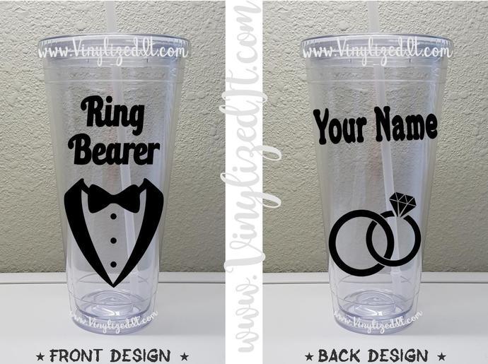 Custom - Ring Bearer - Wedding - acrylic tumbler, mason jar, or sports