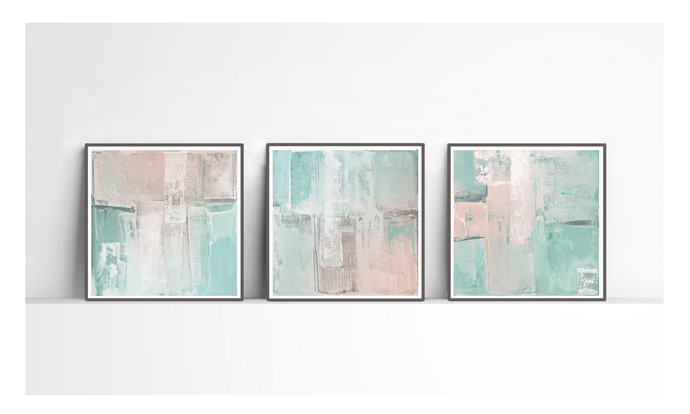 Set of 3, triptych prints, scandinavian , mint, PRINTABLE , Abstract art , blush