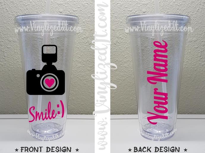 Custom - Photography - Photographer - Camera - Smile - acrylic tumbler, mason