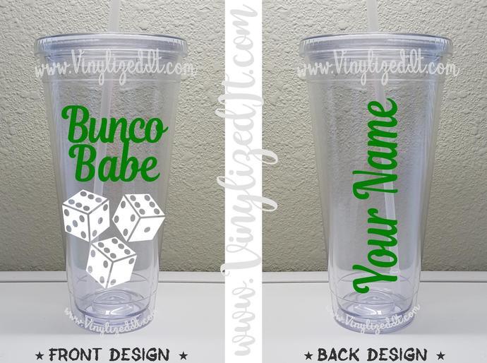 Custom - Bunco Babe - acrylic tumbler, mason jar, or sports bottle/water bottle