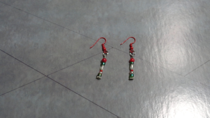 Red, Green , and Irridescent Sparkly Dangle Earrings