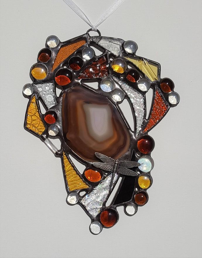 Large Fancy Scrappy Suncatcher - Amber Geode