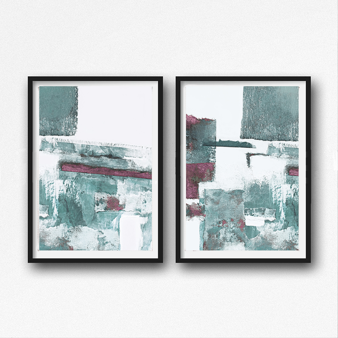 Scandinavian abstract, Printable Art, rose and mint, Art Poster, Digital