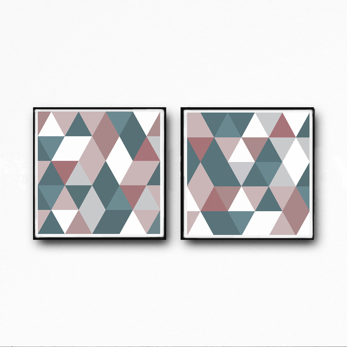 Squre abstract, , blush pink , white , teal, pink, mint, large print, gray, set