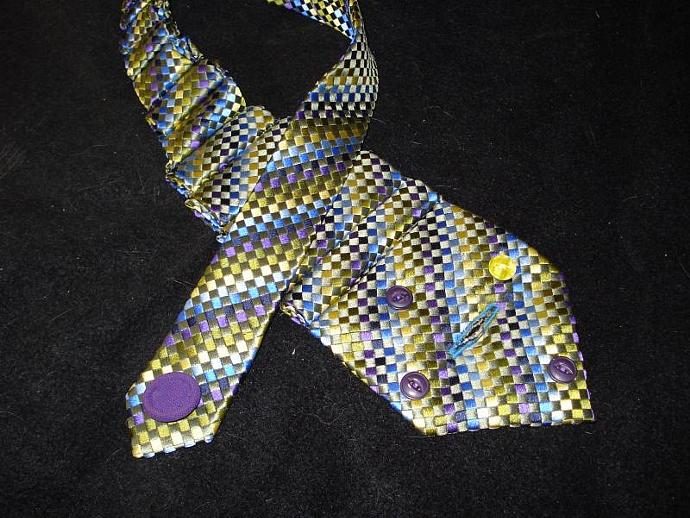 Re-purposed Tie Necklace in Greens, Purple, Yellow and Blues