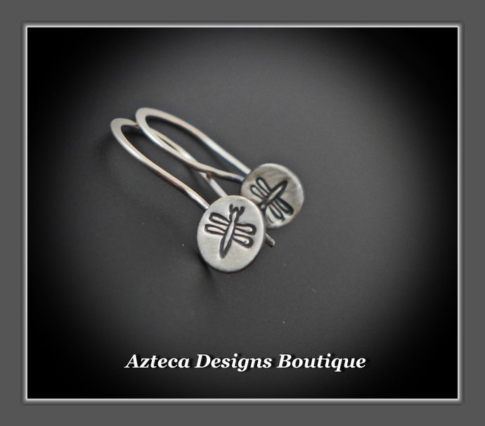 Dragonfly Hand Fabricated Hand Stamped Argentium (93.5) Silver Earrings