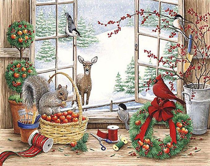 Window Into Winter Cross Stitch Pattern***LOOK***   ***INSTANT DOWNLOAD***