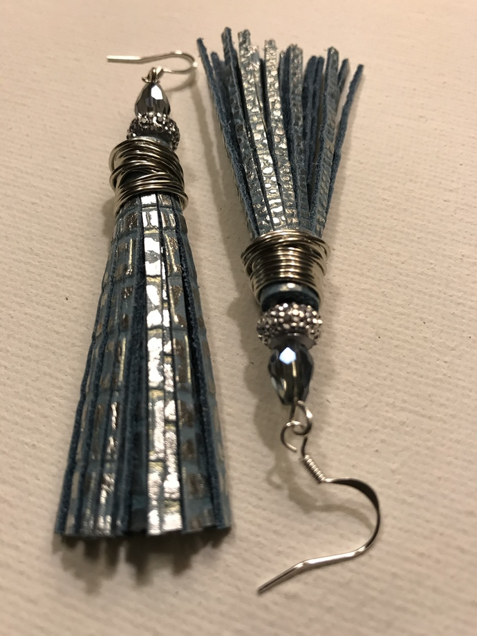 Cleopatra Blue Leather Tassel Earrings