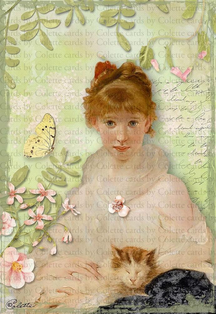 Beautiful Girl and her Kitten Greeting Card760