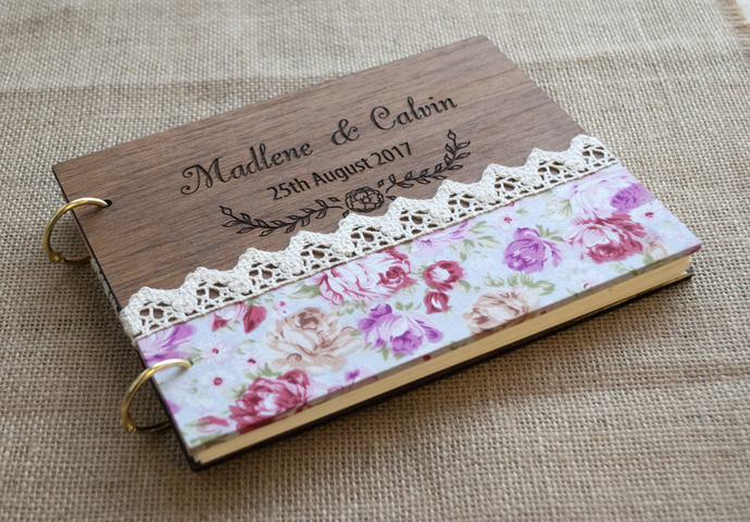 Floral Guest Book / Flower Guest Book / Rustic Wedding Guest book / Flower