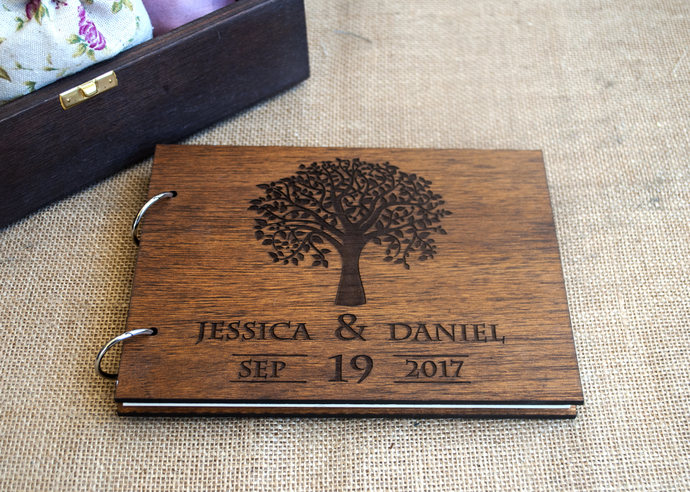 rustic wedding guest book   wood guest book    by