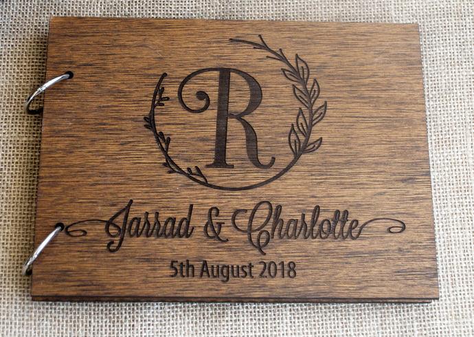 monogram guest book / rustic wedding guest by WoodYourDay on Zibbet