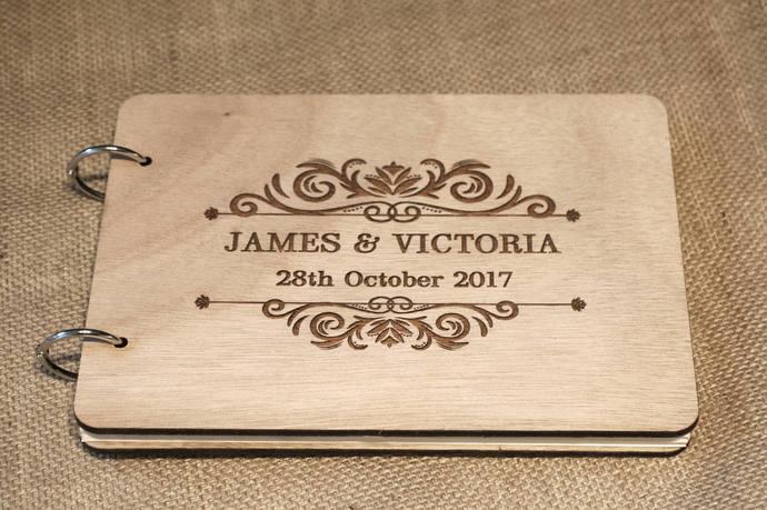 rustic wedding guest book/ wood guest book / ornamental guest book / wooden