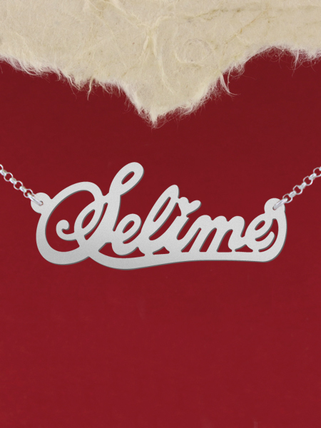 925 Silver Name Necklace Selime/Custom Name Jewelry/Personalized ANY NAME Plate