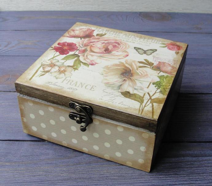Wooden tea box. Tea storage box. Tea bag box. Tea bag storage. & Wooden tea box. Tea storage box. Tea bag by DecoupageMargaret on Aboutintivar.Com