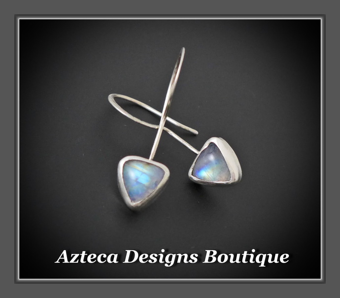 Strength~ Rainbow Moonstone Argentium (93.5) Silver Hand Fabricated Earrings
