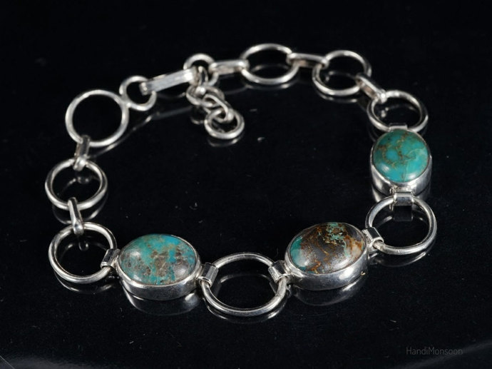Tibetan Turquoise Sterling silver chain link bracelet Natural Blue Green
