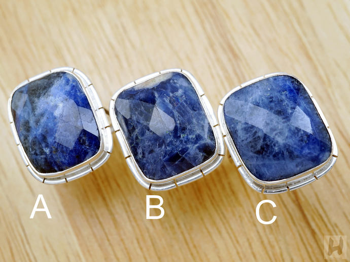 Natural large Deep Blue Sodalite Sterling silver rings Rectangle faceted cut