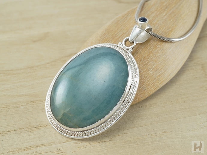 Natural Large Blue Aquamarine Oval pendant necklace Round Sapphire bail Sterling