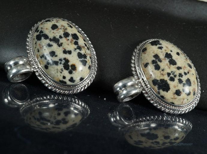 Black and white Dalmatian Jasper silver pendant necklace, cover setting in