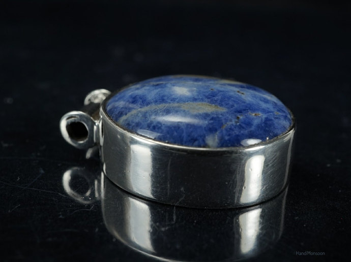 Blue and white Sodalite silver tube bail pendant necklace, cover setting in