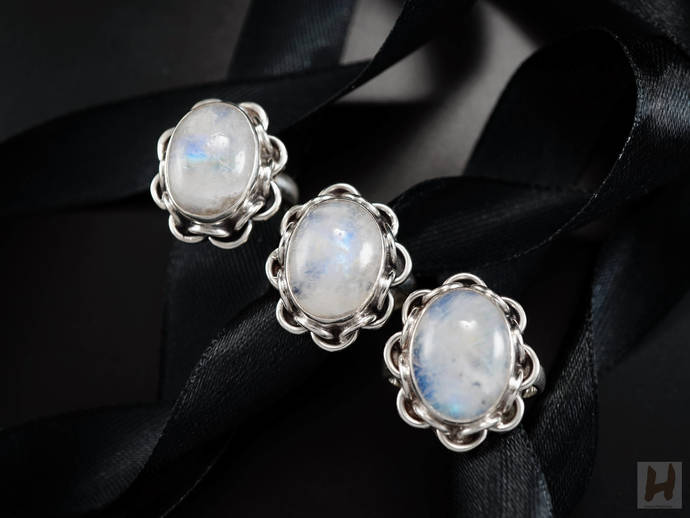Natural Rainbow Moonstone Sterling silver filigree rings Large White Oval